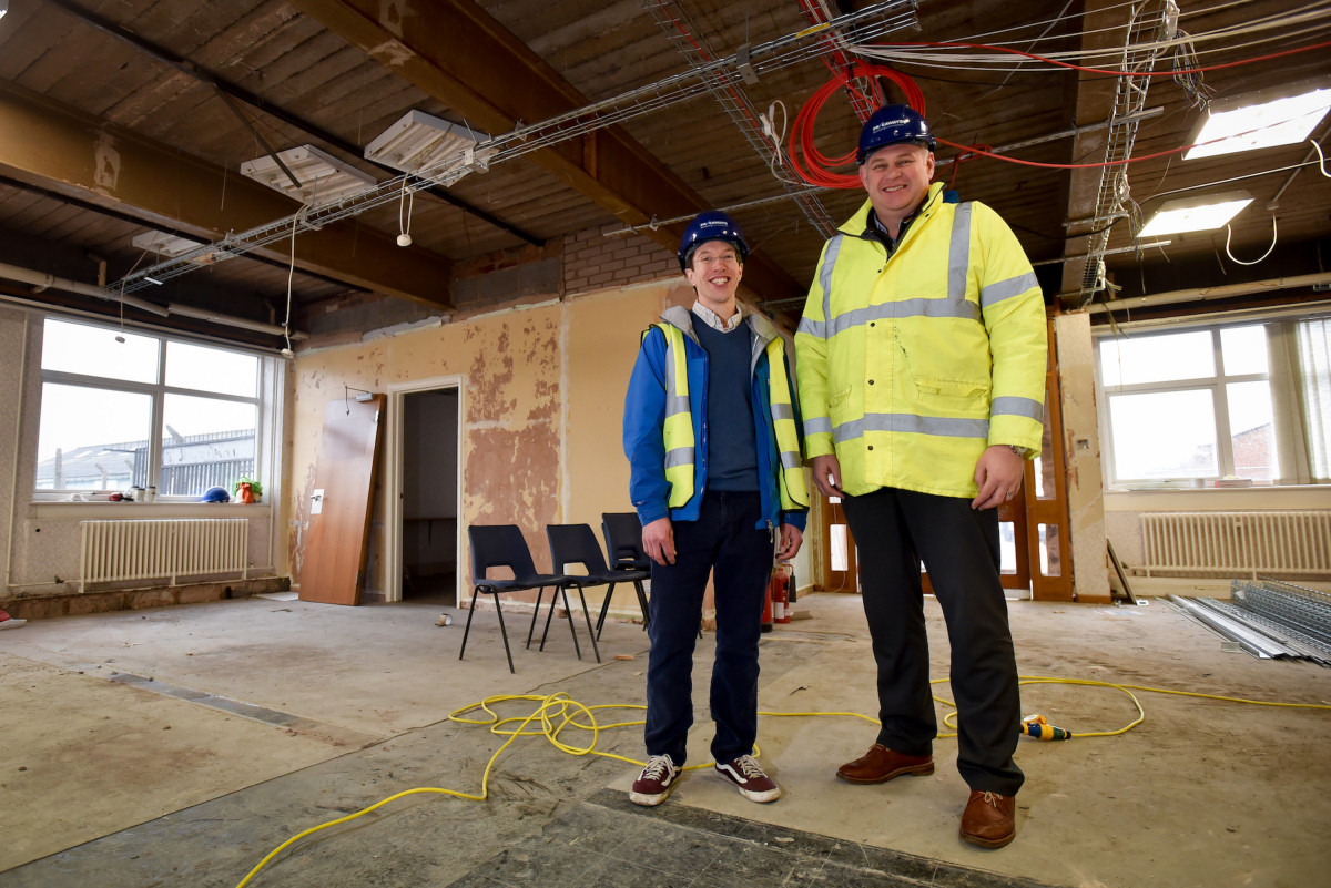 Pathway Intermediates COO Edward Youngman and Pave Aways Managing Director Steven Owen inside the building that is being refurbished for the new HQ