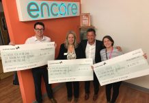Patrick Marston (Encore) Charlotte Webster (The Sick Children's Trust) Chris Hockey (Encore) and Claire Herrick (CLIC Sargent)