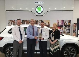 Celebrating the award are, from left, Dan Foskett (Furrows Group New Cars Sales Manager), Jonathan Richards (Skoda Local Marketing Manager), Daniel Edwards (Furrows of Oswestry Sales Manager) and Emma Sheekey (Furrows Marketing Manager)