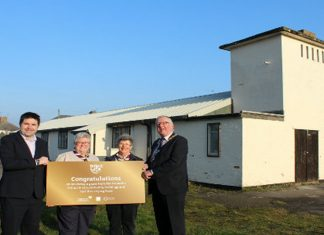 Pictured from left to right outside of the Scout HQ on Longford Road are Councillor Shaun Davies, Melissa Dewsbury (Assistant Group Leader for the 1st Newport Cubs), Liz Metcalfe (Group Scout Leader for the 1st Newport Scouts) and Councillor Peter Scott