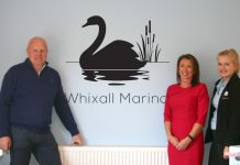 Designer Nick Edwards is pictured with Hazel Ruscoe and Molly Bourne of Whixall Marina