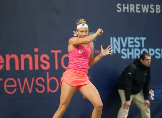 Belgian ace Yanina Wickmayer, this week's top seed, on her way to victory against Maia Lumsden. Photo: Richard Dawson Photography
