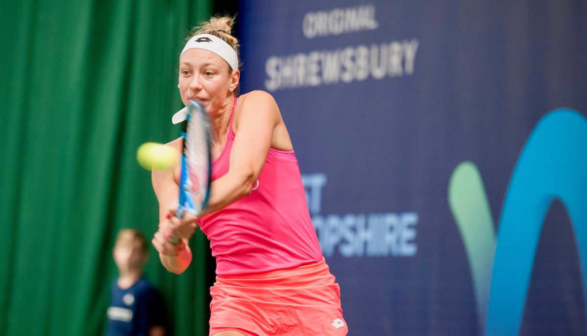 Yanina Wickmayer in action during her semi-final victory at The Shrewsbury Club. Photo: Richard Dawson Photography