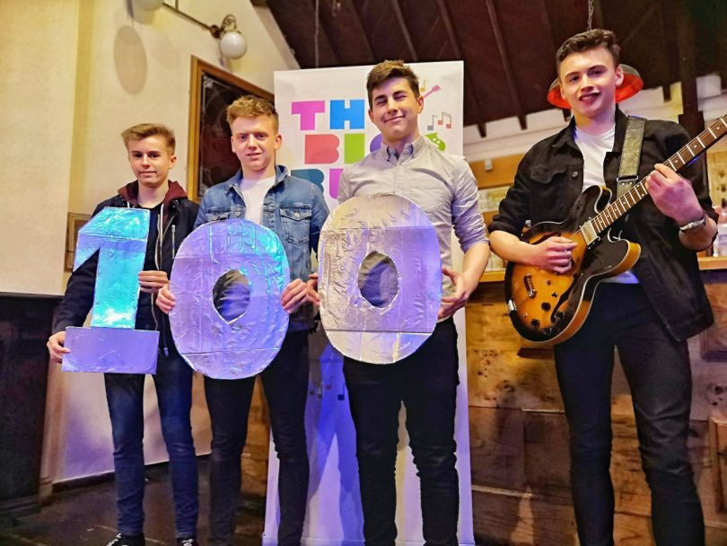 Band members Alex Caden, Sam Beavan, Ben Jones and Robert Whitgreave of Without Warning are the 100th act to sign up to The Big Busk