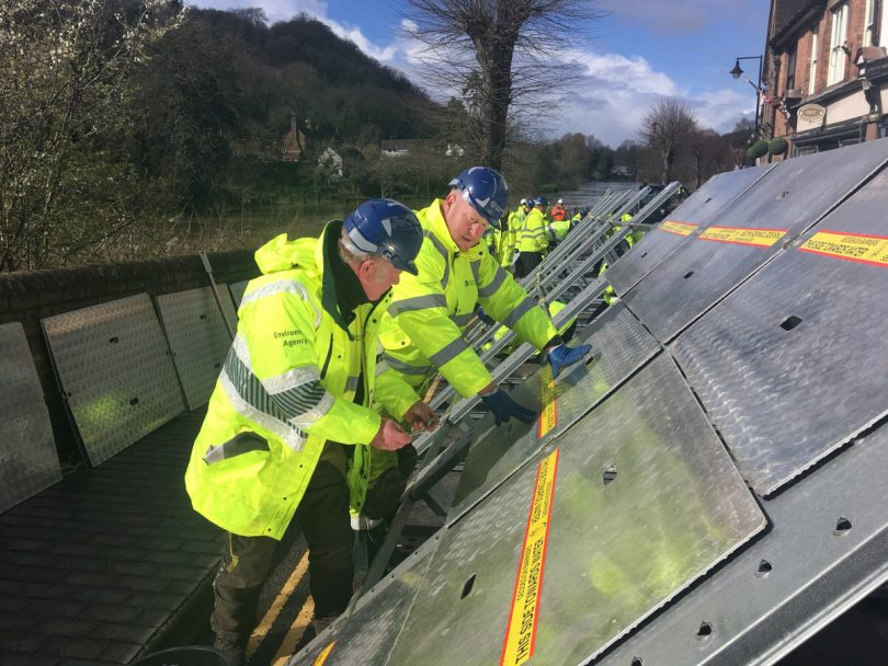 The Environment Agency are busy putting up flood barriers in Ironbridge. Photo: @DaveThroupEA