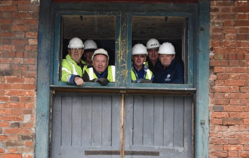Part of SNCT volunteer team who are bringing the wharf back to life including (L-R) Bernie Jones (Chair of SNCT), John Haynes, Phil Jones, Steve Heise, Mike Mee and Mike Haig (Chair of the local IWA Branch)