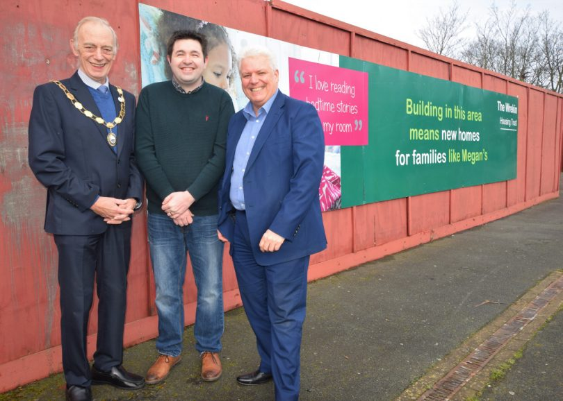 Mayor for Great Dawley Town Council Cllr Malcom Randle, Cllr Shaun Davies and Wayne Gethings from The Wrekin Housing Trust at the site where the bungalows are being built