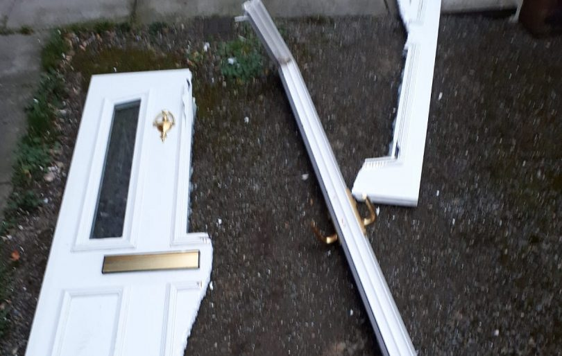 Police gained access to one property by cutting through the front door. Photo: @LpptNWestMercia