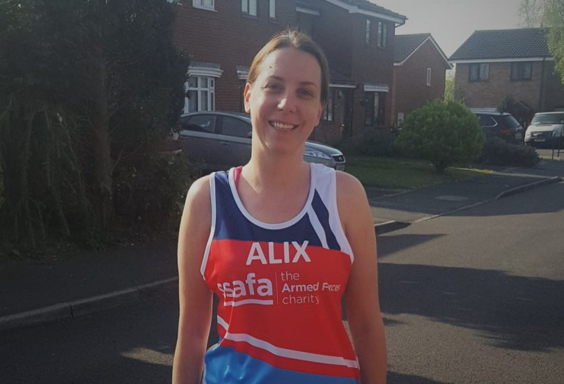 Alix is taking on the London Marathon to raise money for the local branch of the Armed Forces charity SSAFA