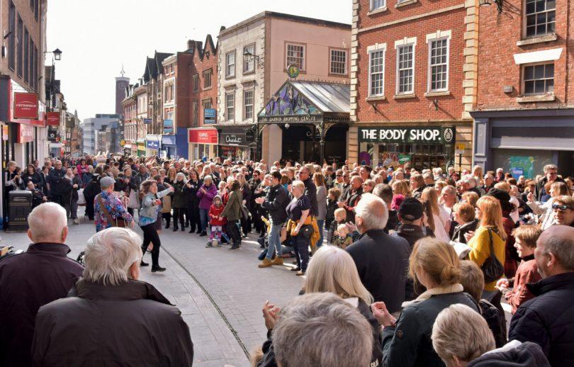 Crowds enjoy a performance during the Big Busk in Shrewsbury