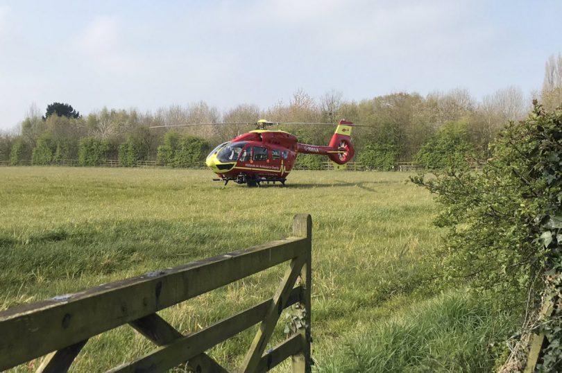 The Midlands Air Ambulance attended the scene of the collision. Photo: Midlands Air Ambulance