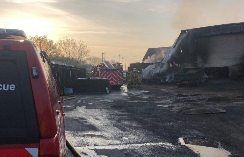 The scene of the fire on Lamledge Lane in Shifnal. Photo: @SFRS_Scott_H