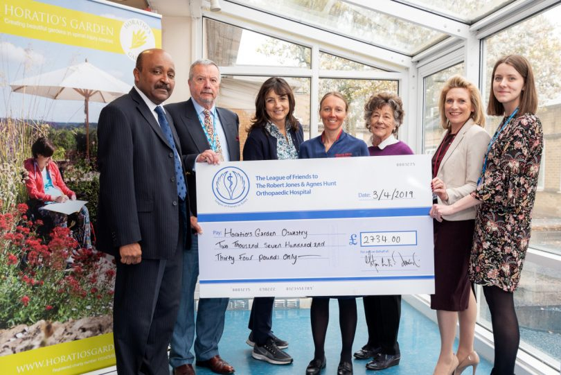 Mr Aheed Osman, Spinal Injuries Consultant; Peter David, Chairman of the League of Friends ; Dr Olivia Chapple, Founder and Executive Trustee of Horatio's Garden; Becky Warren, MCSI Manager; The Lady Trevor, Vice Chairman of the League of Friends; Victoria Sugden, League of Friends Charity Director; and Heather Thomas-Bache, League of Friends Office Manager