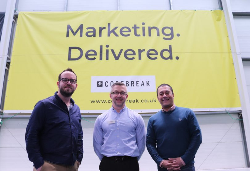 Joel Stone and Andy Rao from Codebreak with General Manager of The Shrewsbury Club, Alvin Ward