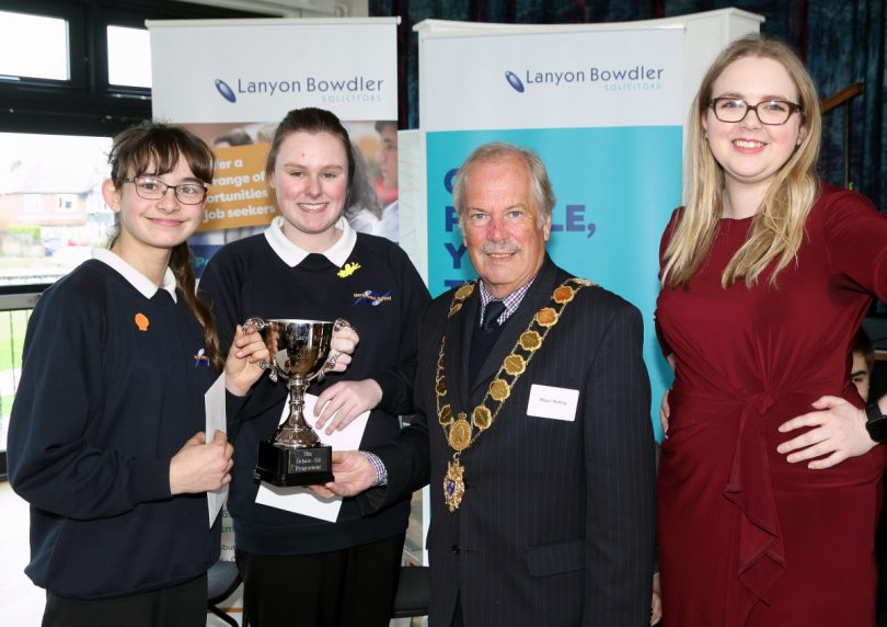 Mollie Holm and Grace Laing of Meole Brace School with the Mayor, Councillor Peter Nutting, and Holly Edwards of Lanyon Bowdler
