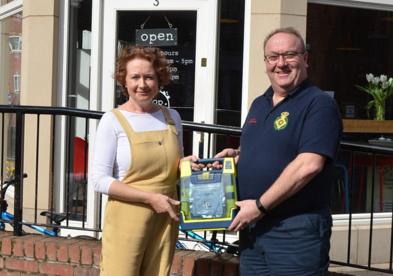 stop. Coffee Shop owner, Nicola Dalton with Telford First Responders Coordinator and Chair, Nick Freeman