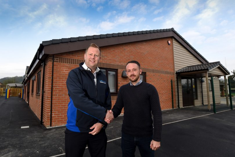 Pave Aways' Construction Director Jamie Evans and Site Manager Simon Gough at the new Ysgol Gynradd in Carno