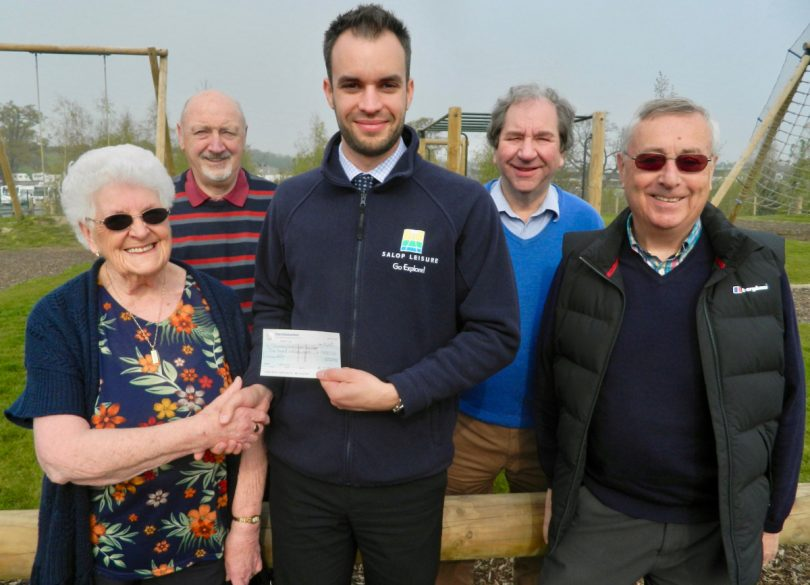 Ed Glover, Salop Leisure's marketing manager, presents a cheque to Shrewsbury and District Senior Citizens Bowling League's president and treasurer Margaret Cooper watched by, from left, deputy chairman Harold Banks, chairman Roger Whitfield and secretary Chris Kershaw