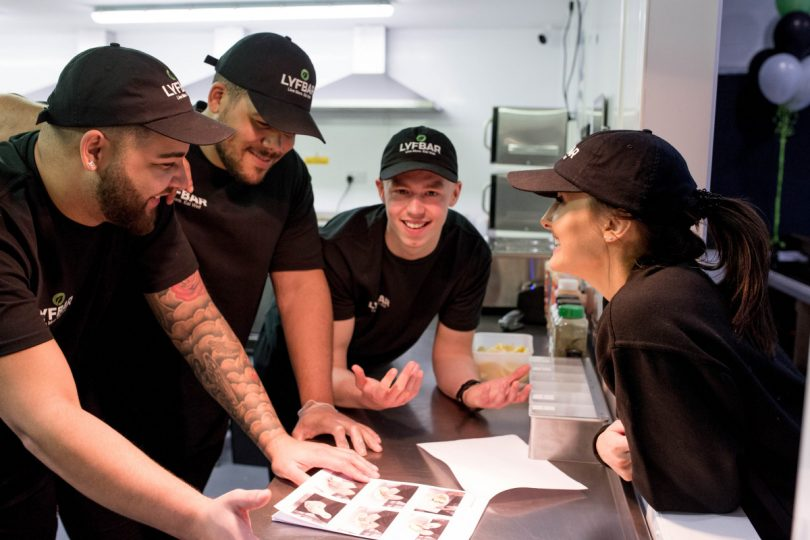Team spirit from left Sean Gray, Alex Archibald, Jamie O'Toole, Bethany Tomlinson at work at Lyfbar