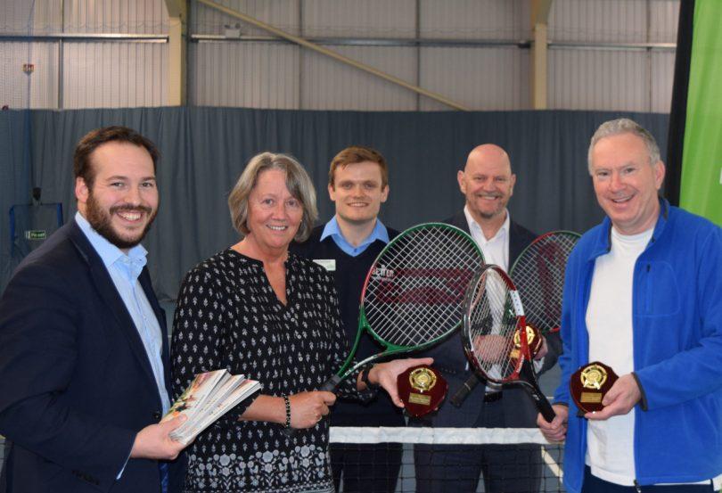 Edward Thomas (Wrekin Housing Trust); Elaine Marsh (Shifnal Tennis Club); Jamie McLintock (duty manager at the Telford Tennis Centre); Paul Godwin (Wrekin & Telford Tennis Community); Robin Gilbert (Shrewsbury Lawn Tennis Club)