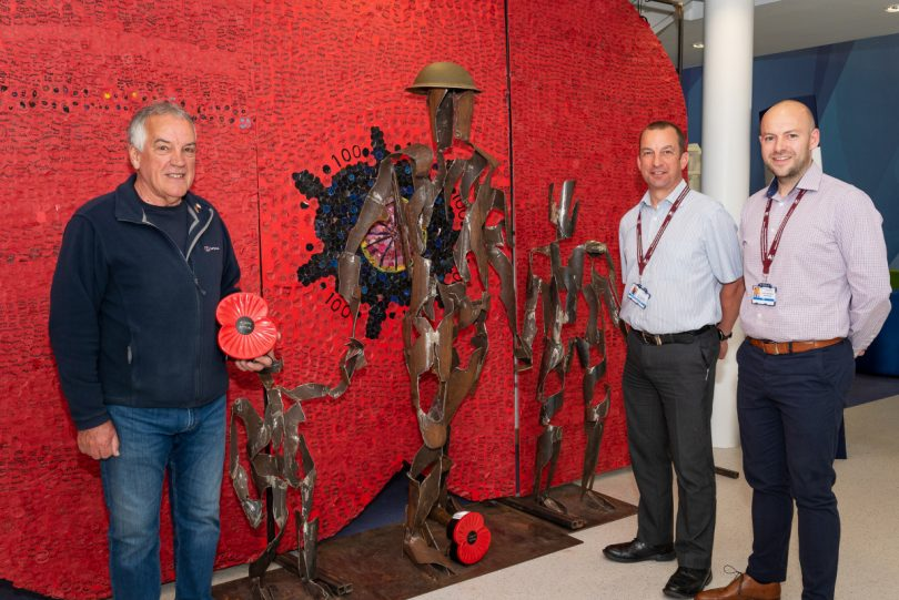 From left, William Dawber, Chairman and Poppy Appeal Organiser for Ford and District branch of the Royal British Legion – Shrewsbury; Lee Osborne, Transformation Lead and Veterans' Service Project Manager; and Louis McDonald, Project Manager and Staff Reservist
