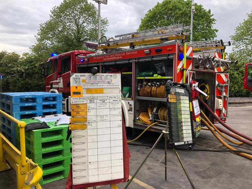 Firefighters at the scene of the incident Photo: Shropshire Fire and Rescue Service