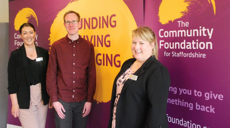 Community Foundation's Jo Cooper, Jim Creed, Arts Development Officer for Qube, Oswestry who received £3856.61 via the #iwill fund and the Foundation's Leanne McPherson