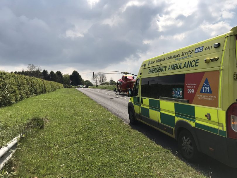 The Midlands Air Ambulance and West Midlands Ambulance Service at the scene of the collision. Photo: @OFFICIALWMAS