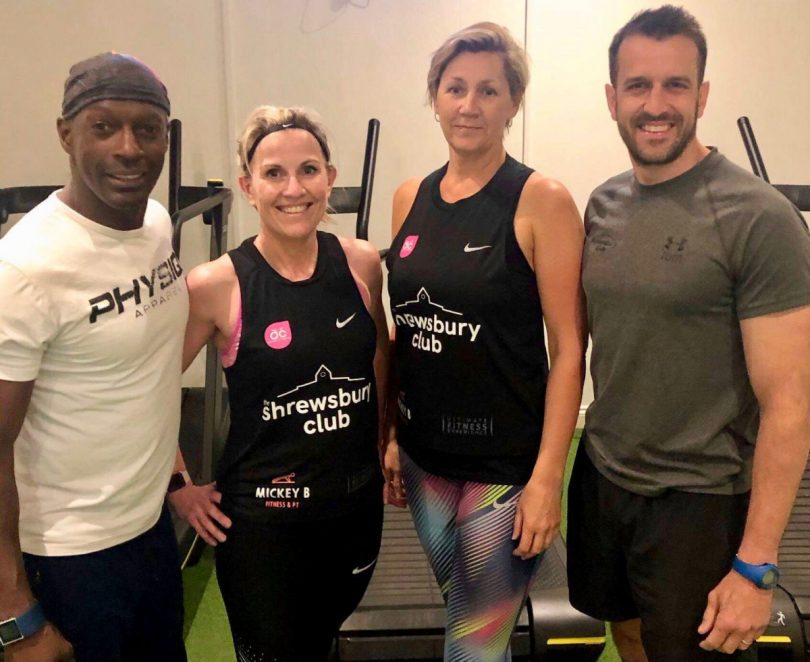 Dawn Tretton, second left, and Nicky Ellis preparing for their charity cycling challenge at The Shrewsbury Club with the help of personal trainers Mickey Brown, left, and Tom Meehan