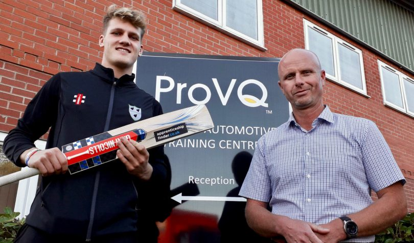 Worcestershire cricketer Dillon Pennington and Julian Lloyd, the managing director of ProVQ