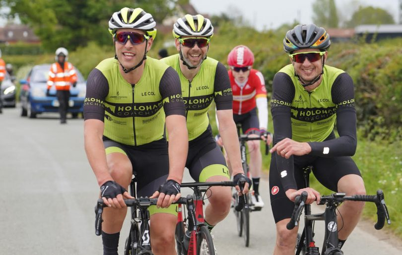 The end of the Phil Ward Memorial Road Race with team mates Chris Childs, Stuart Glover and Chris Pook. Photo: Mike Adams Photography