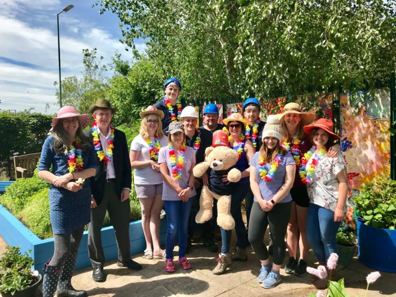 The makeover was tackled by a team of volunteers from Headway and law firm Lanyon Bowdler's personal injury department who are pictured wearing silly hats to mark 'Hats for Headway' which is a fundraising day for the Headway charity