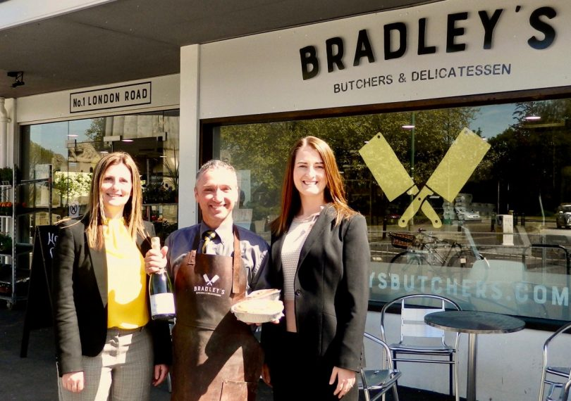 Jason Bradley, the owner of Bradley's Butchers & Delicatessen, with, left, Helen Bourne, property manager for TSR, and Amie Barter, agency surveyor for TSR, who handled the letting of the premises