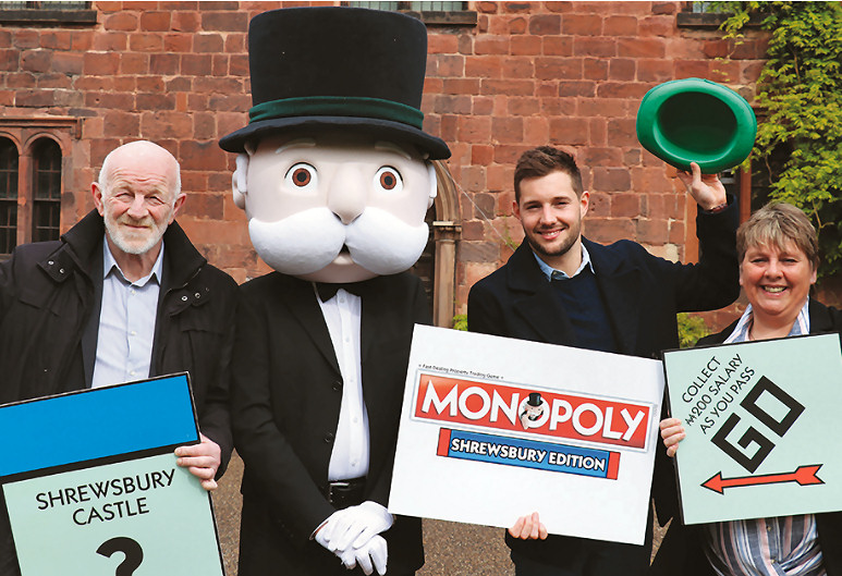 Pictured from left to right: Alan Mosley, Shrewsbury Town Council's Leader; Mr Monopoly; Jake Houghton from the game's makers Winning Moves UK and Lezley Picton, Shropshire Council's Cabinet member for culture and leisure