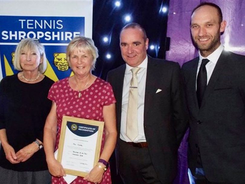 Pat Clarke, second left, collected her county prize as volunteer of the year in the British Tennis Awards at Tennis Shropshire's presentation dinner in November from Jilly Broadbent, the Tennis Shropshire president, Shrewsbury Town FC chief executive Brian Caldwell and Adam Wharf, the director of performance tennis at The Shrewsbury Club