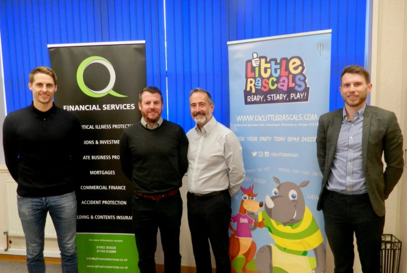 Footballer Dave Edwards, left, with two of his fellow directors at Q Financial Services Stuart Mackintosh and Mitchell Gough, and, right, Ben Wootton, his Little Rascals co-owner