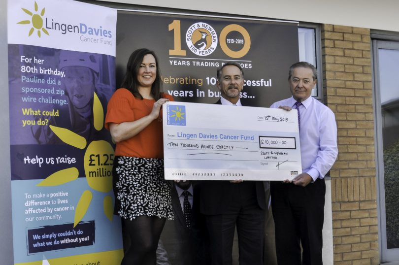 Naomi Atkin, Chief Executive Officer at Lingen Davies Cancer Fund with Jonathan Owen (Managing Director) and David Owen (Director) of Scott & Newman