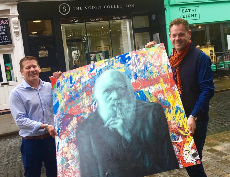 Jonathan Soden and Gary Drew with the new paintings