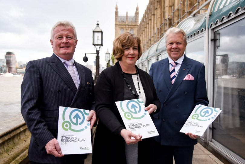 LEP vice-chair and chair of Telford Business Board Paul Hinkins, LEP director Gill Hamer and Chairman of the Marches LEP Graham Wynn OBE at the launch