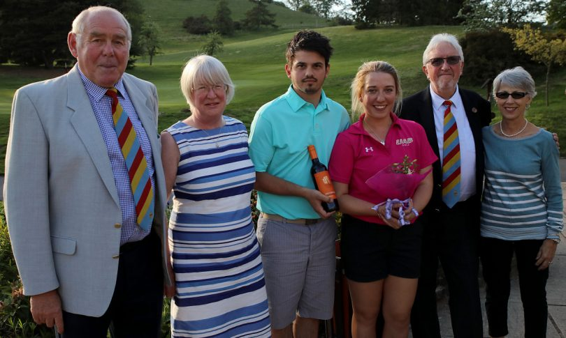 Dave Pearson (President) Joy Foster (Ladies Captain) Winners - Ben Taylor & Imogen Huxley, Colin Turner (Captain) and Competition Organiser Jane Jasper