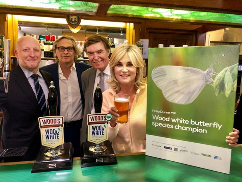 South Shropshire MP Philip Dunne and TV presenter Anthea Turner have joined forces to raise awareness of the Wood White butterfly