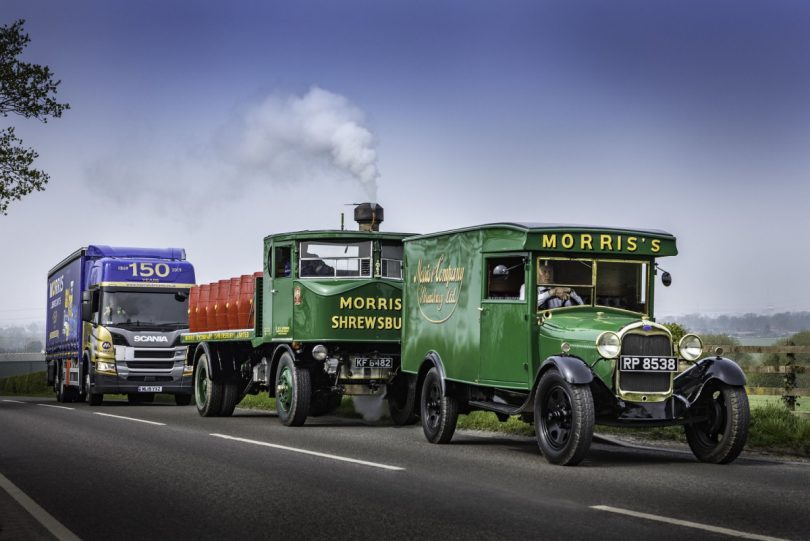 The new 150th anniversary vehicle with two of its old counterparts – a Ford model AA from 1928 and the famous the Sentinel DG 4 steam waggon from 1931