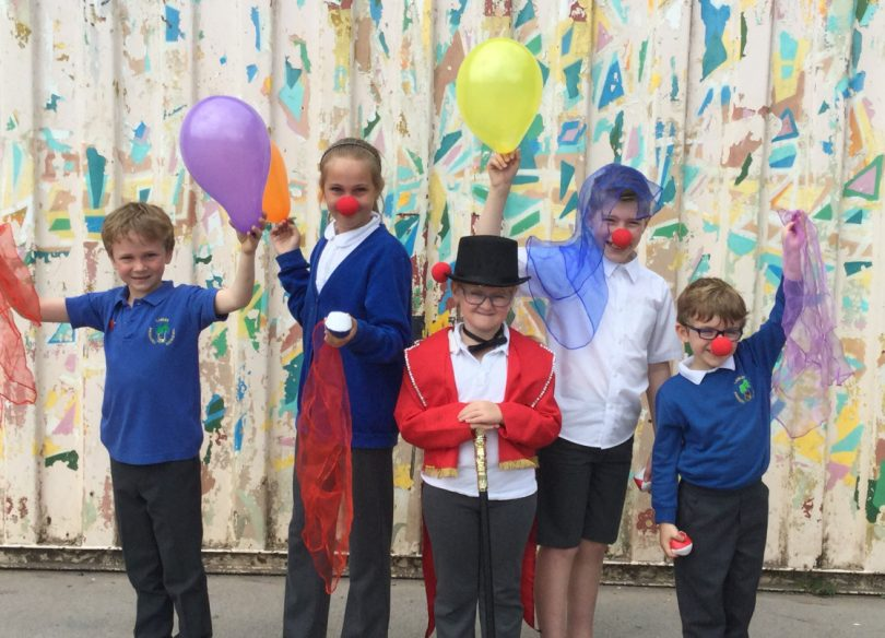 Children from Lawley Primary School in Telford get into the 'circus spirit' before the professionals arrive to perform on Sunday
