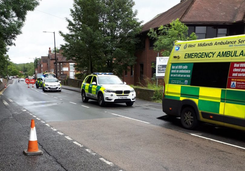 Emergency services at the scene of the collision in Bridgnorth. Photo: @BridgnorthCops
