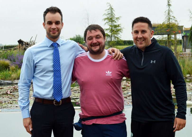 Darren Lloyd (centre) with Salop Leisure colleagues Ed Glover (left) and Chris Skitt who are taking on a 24-hour duathlon to raise money for him and his family to achieve bucket list wishes