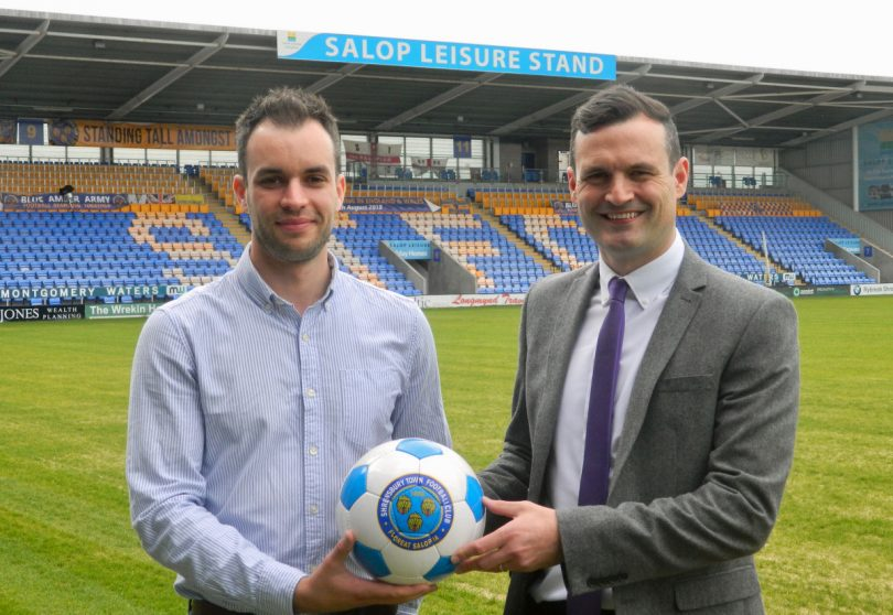 Ed Glover, left, Salop Leisure's marketing manager, and Shrewsbury Town's commercial manager Andrew Tretton