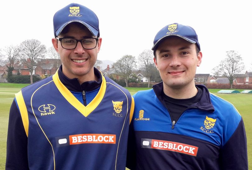 New Shropshire captain Joe Carrasco, left, with Steve Leach, the man he replaces in the role