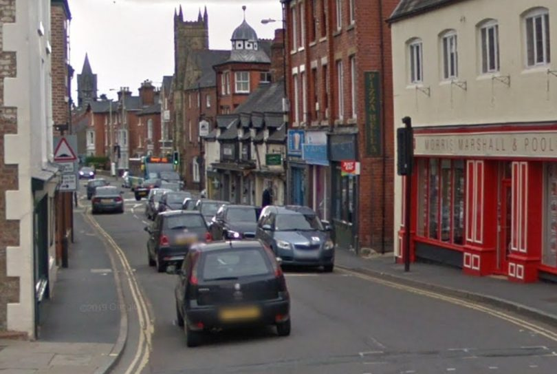 Leg Street in Oswestry will be closed along with Beatrice Street during the works. Image: Google Street View