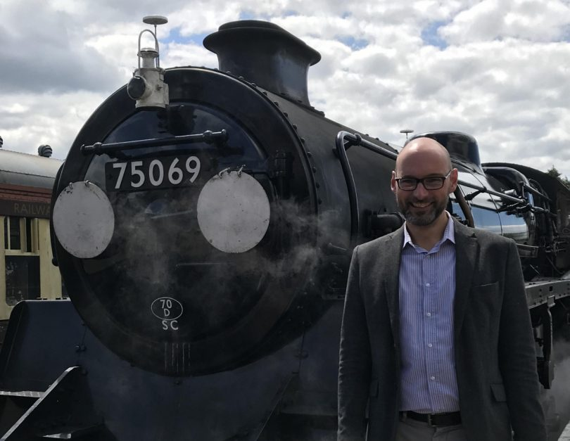 Nick Ralls with recently restored locomotive 75069