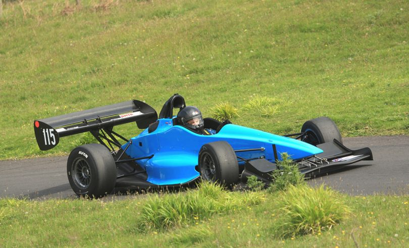 Championship leader Robert Kenrick in action with his GWR Raptor racing car at Loton Park